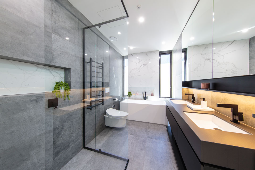 MTR Designer Cabinets bathroom with glass showerscreen