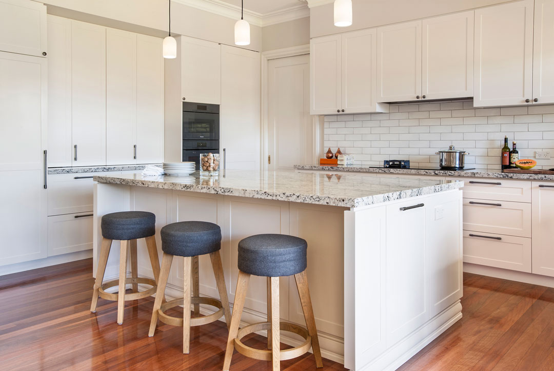 Sally Feeney Interior Design kitchen with island bench and white cabinetry
