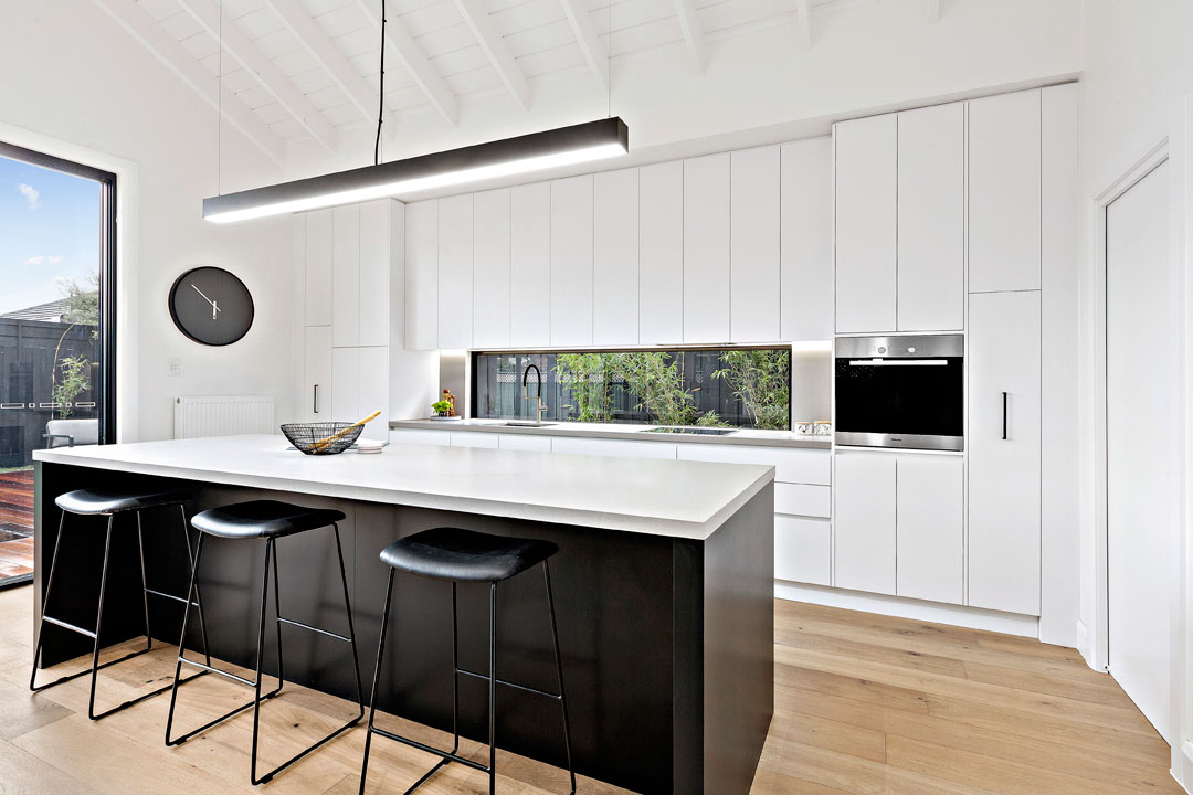 Finewood Designer Kitchens black and white island bench