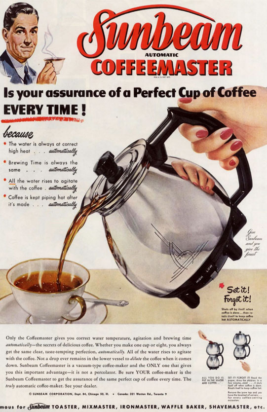 'Coffeemaster Siphon Coffee Ad from 1951' by Mark, flic.kr/p/eGLSQu, Creative Commons Attribution 2.0