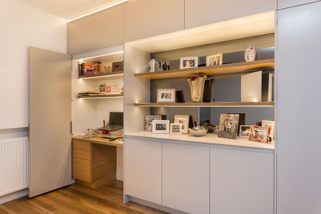 H&H cabinets display shelves with concealed office